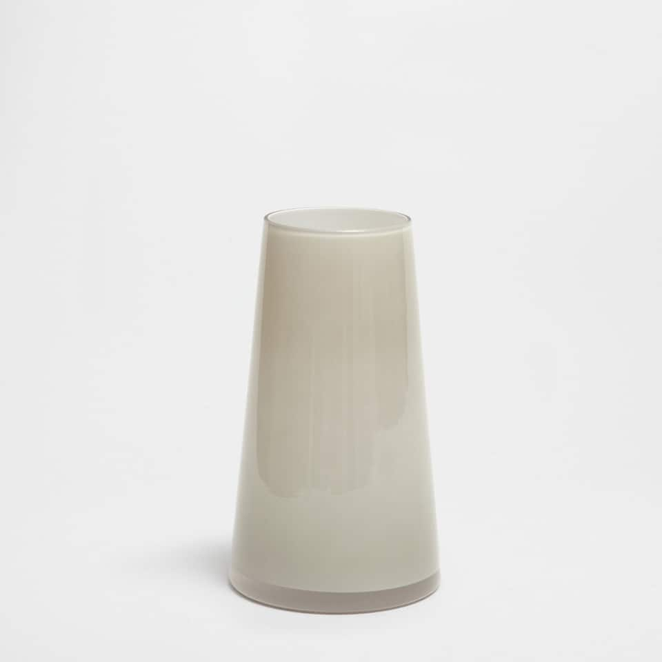 GREYISH GREEN GLASS VASE