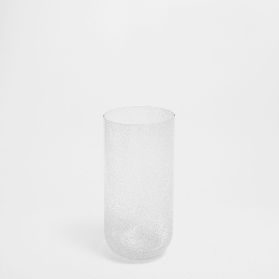 WHITE CYLINDRICAL GLASS VASE
