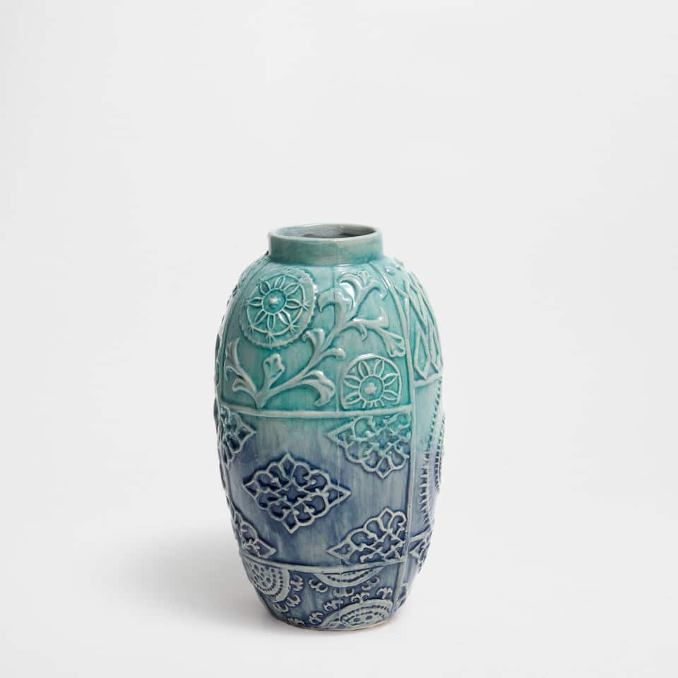 TURQUOISE RAISED-DESIGN CERAMIC VASE