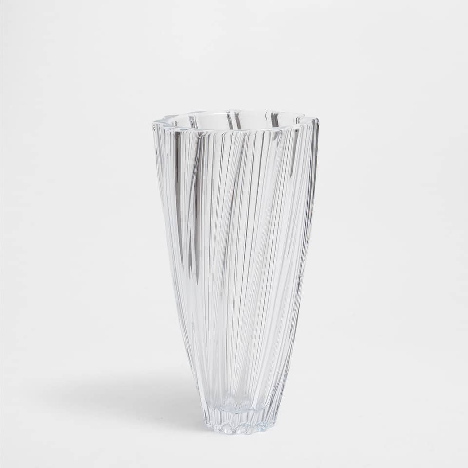 TWISTED TRANSPARENT GLASS VASE