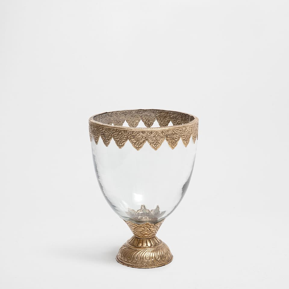 GOBLET-SHAPED VASE WITH METALLIC DETAILS