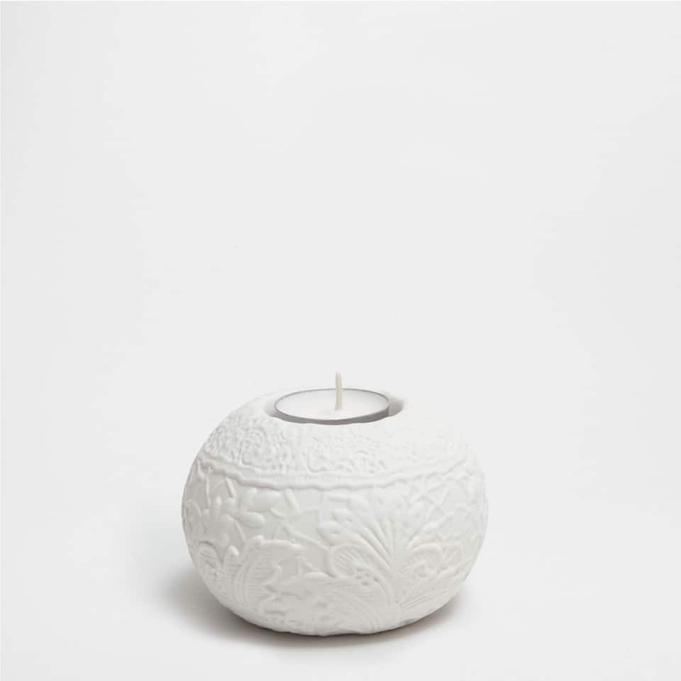 PORTA VELAS BLANCO RELIEVE
