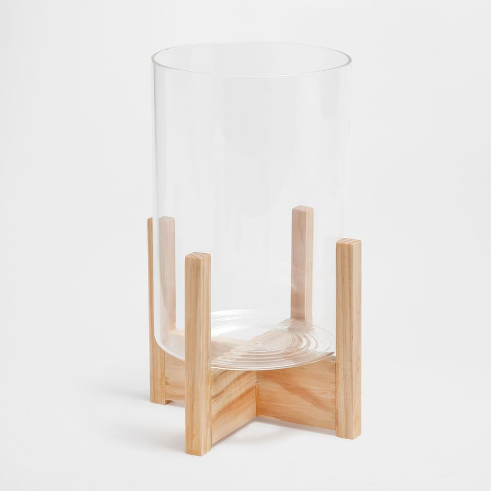 GLASS LANTERN WITH A WOODEN BASE