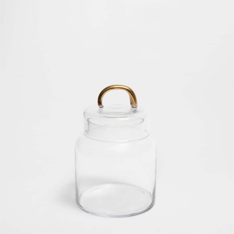 DECORATIVE JAR WITH A GOLD HANDLE