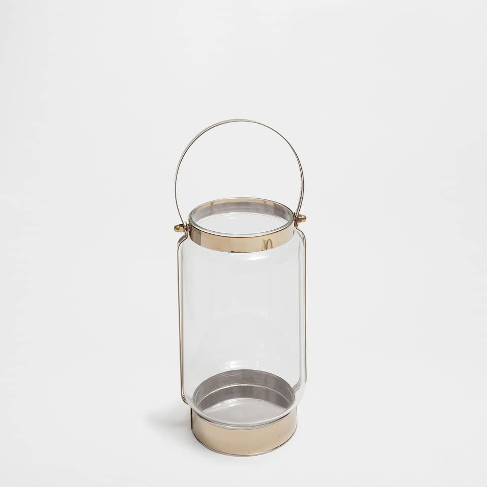 GOLDEN METAL AND GLASS LANTERN