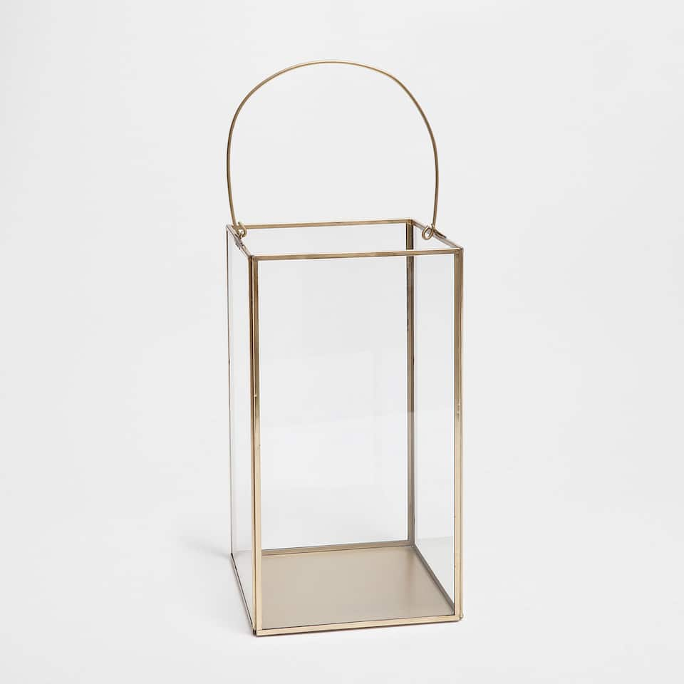 GLASS LANTERN WITH METAL