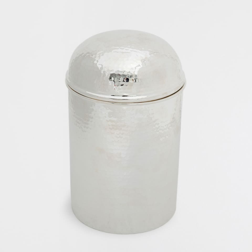 HAMMERED SILVER DECORATIVE JAR