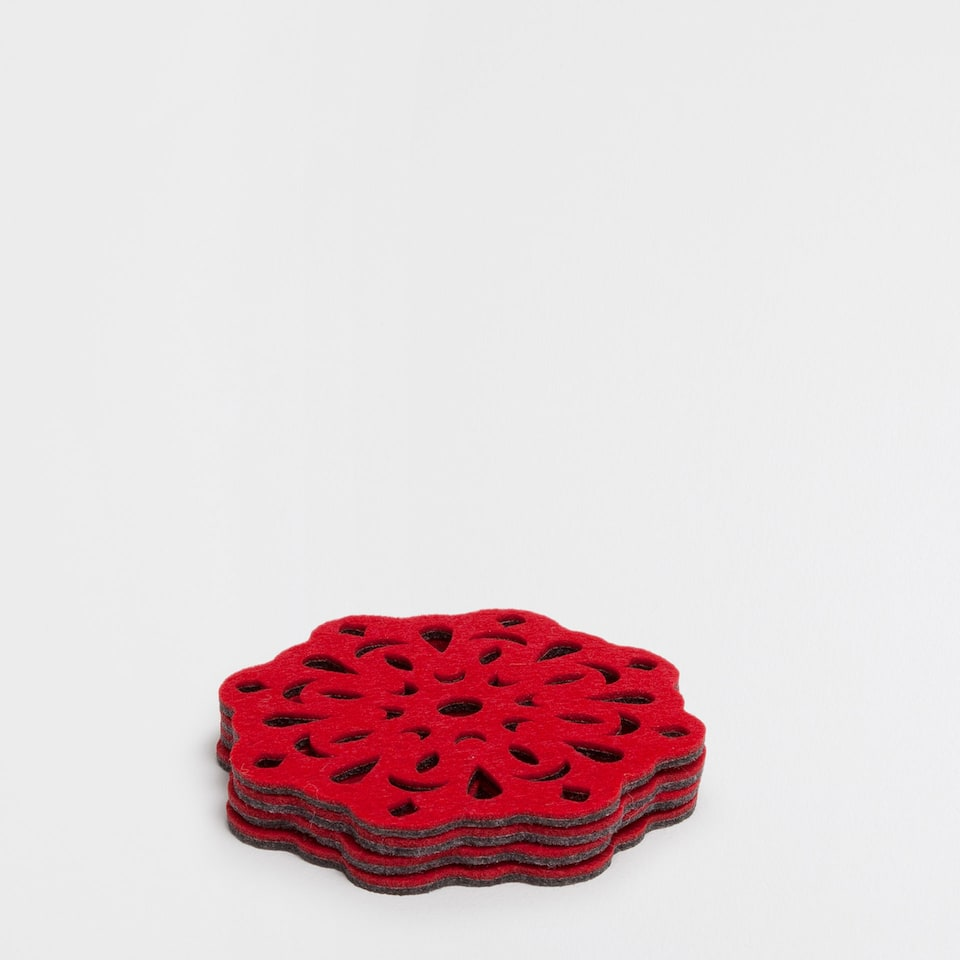 Red cutwork coasters (set of 4)