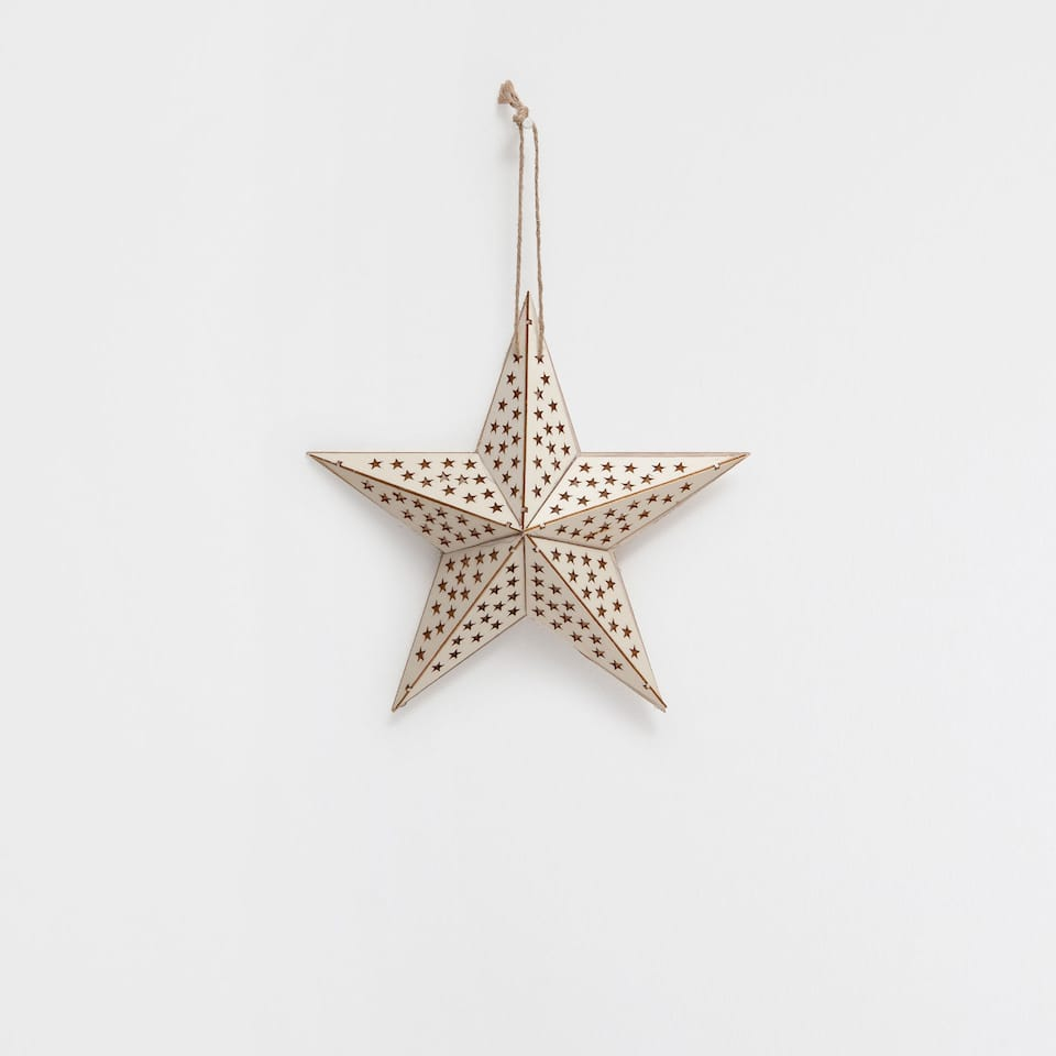 Cutwork wooden star pendant decoration