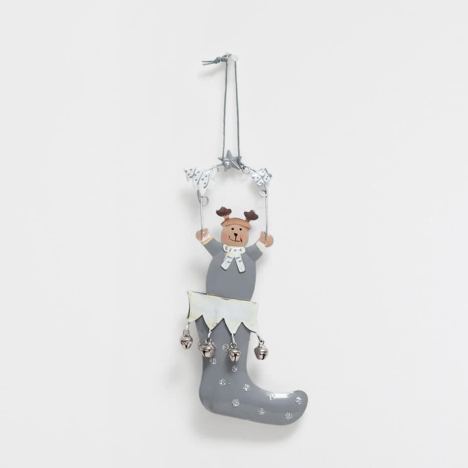 Reindeer pendant in grey boots