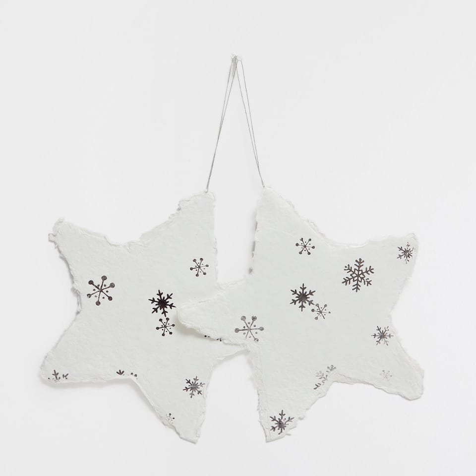 White and silver paper stars (set of 2)