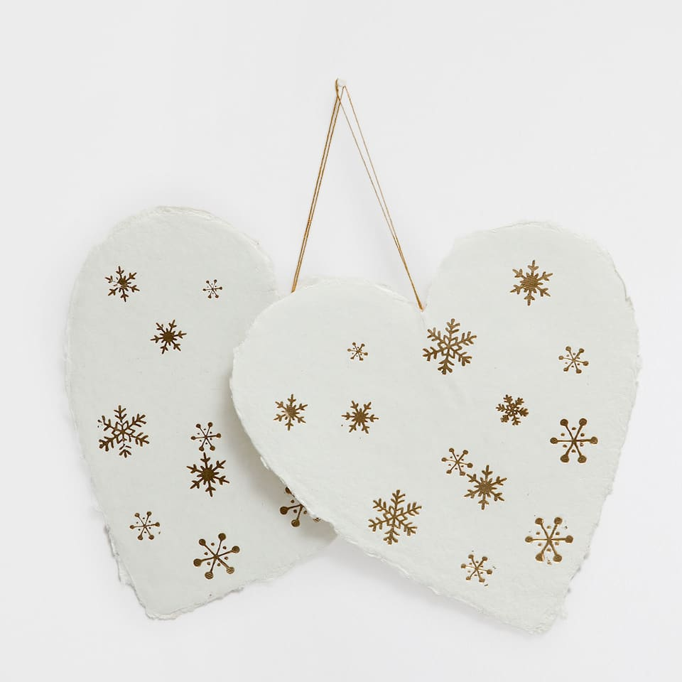 White and golden paper hearts (set of 2)