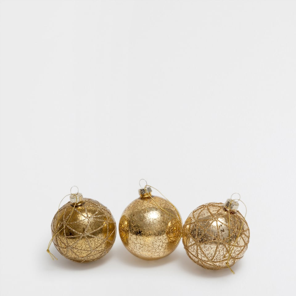 Glitter and golden stripes baubles (set of 3)