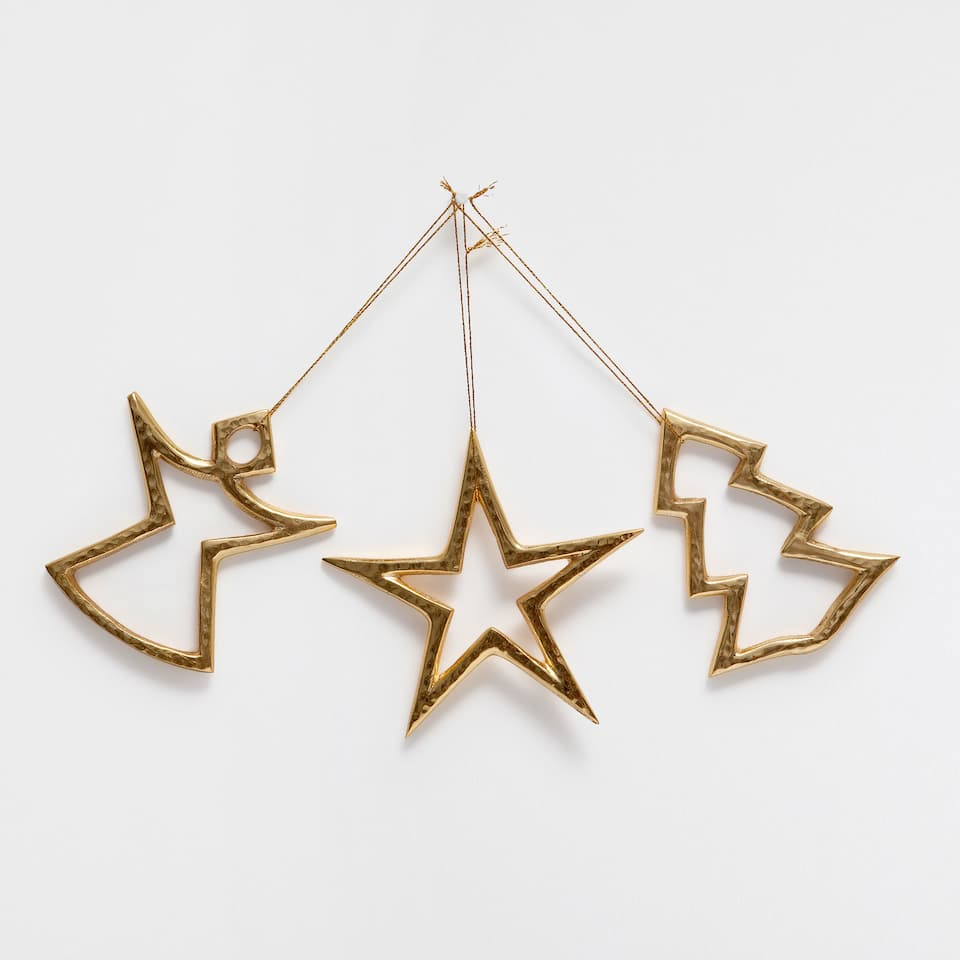 Golden figure contour decorations (set of 3)