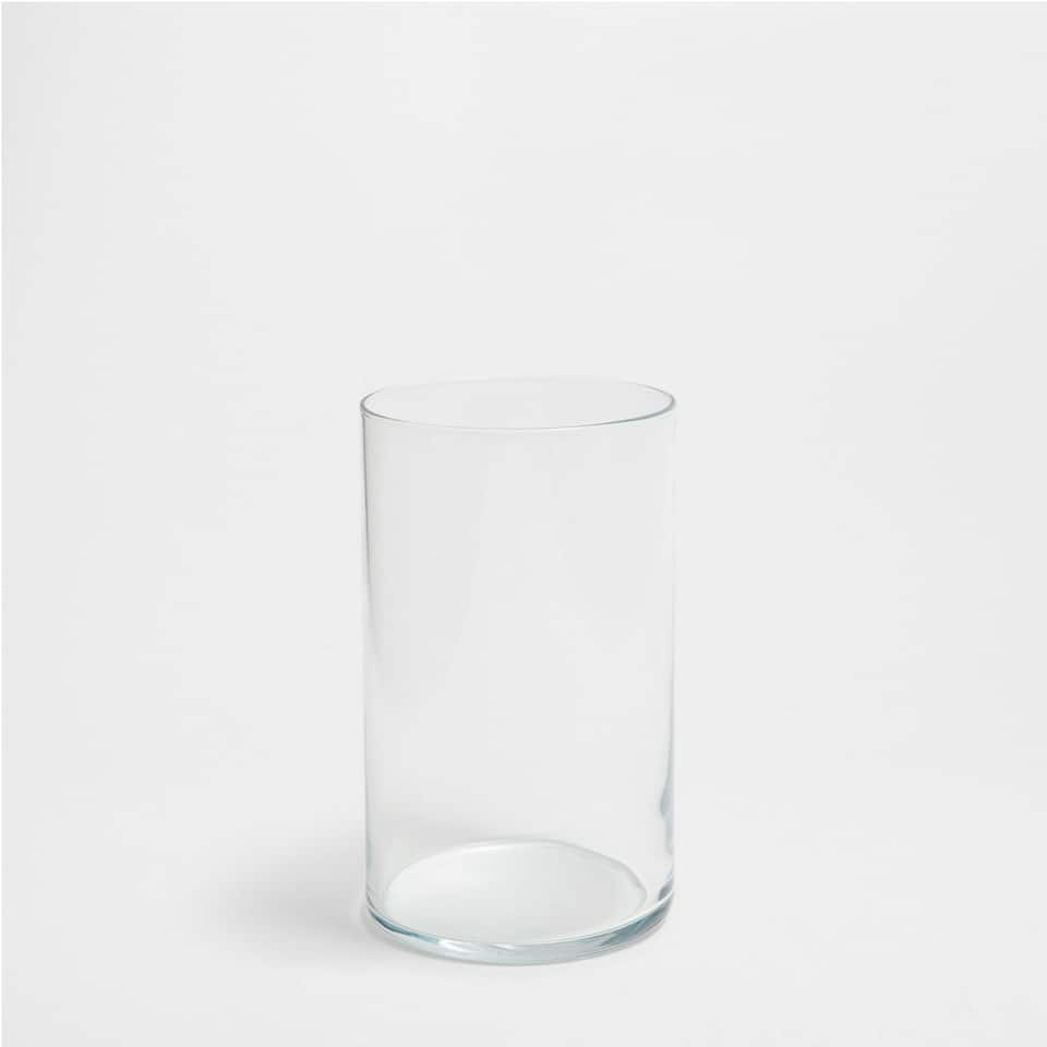 TRANSPARENT CYLINDRICAL TALL GLASS
