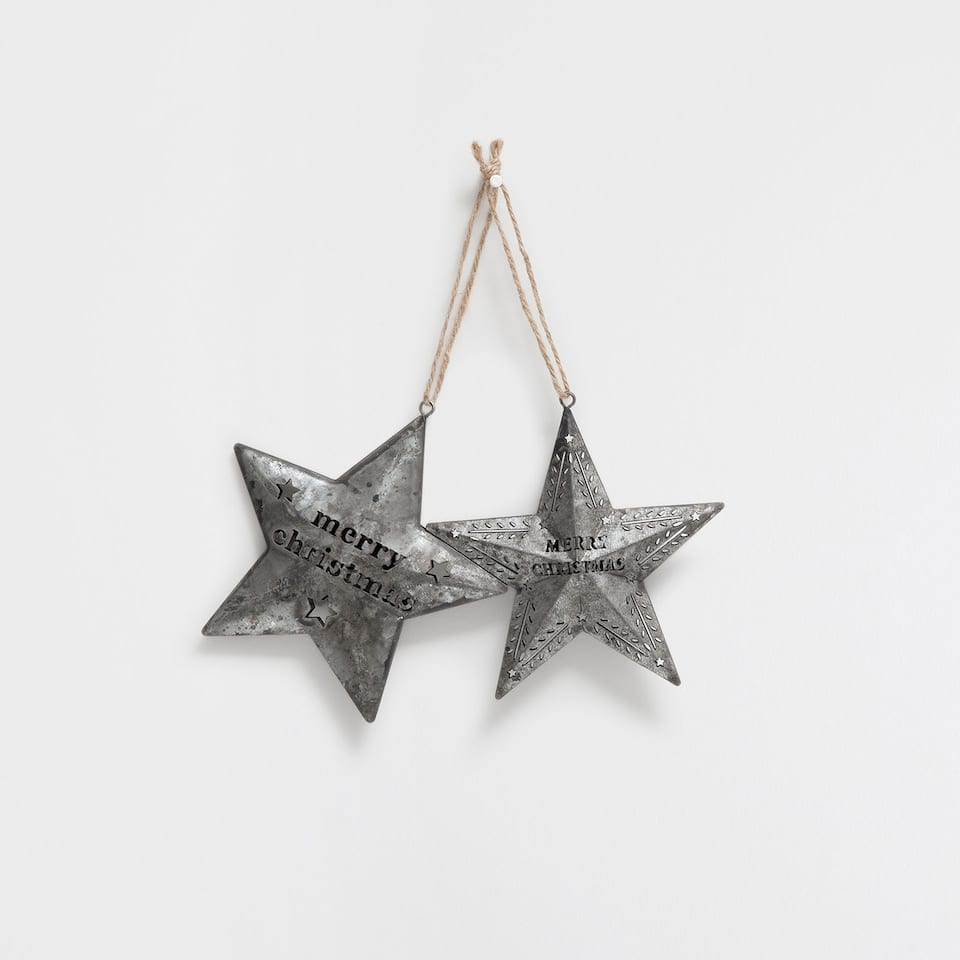 Metal stars with text (set of 2)