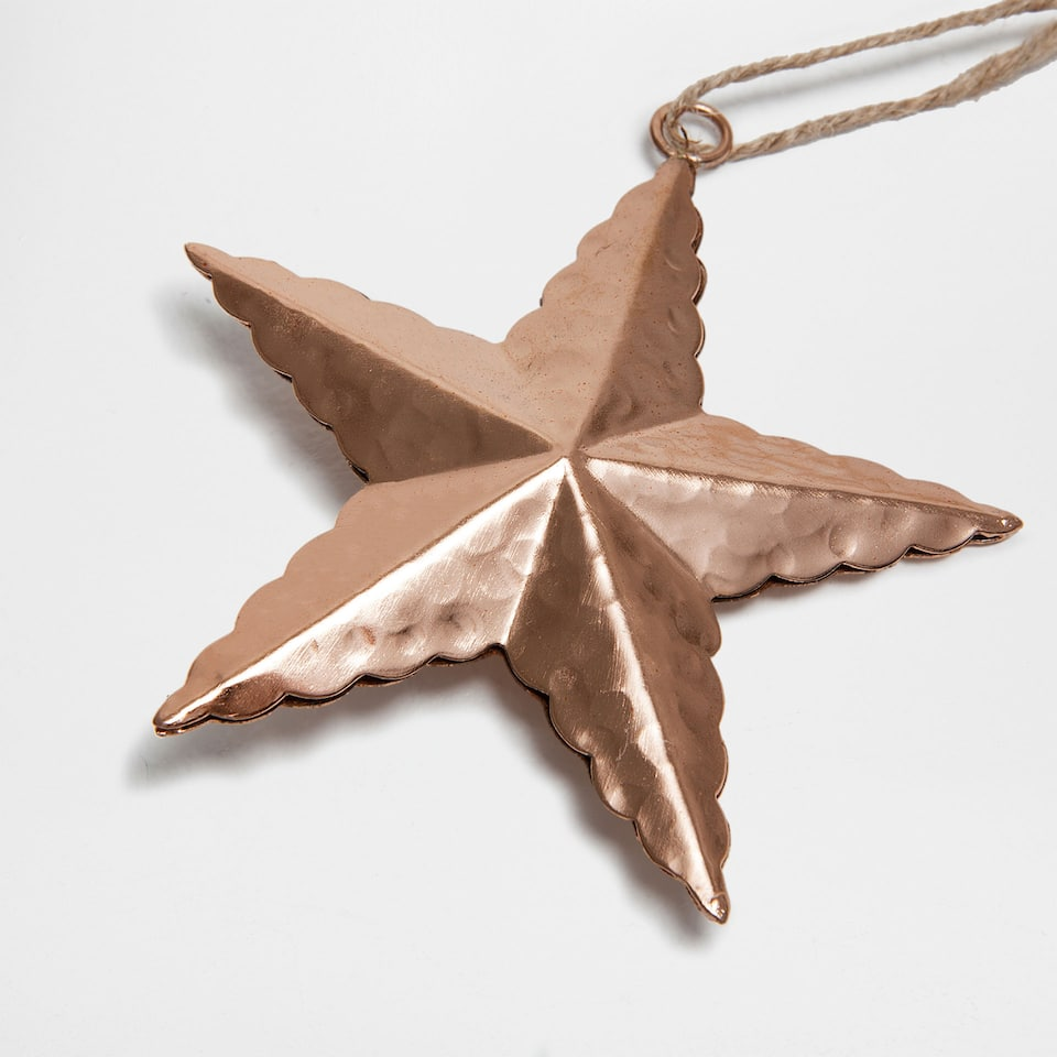 Hammered metal star decoration