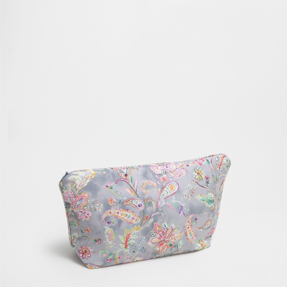 FLORAL PRINT LINEN TOILETRY BAG