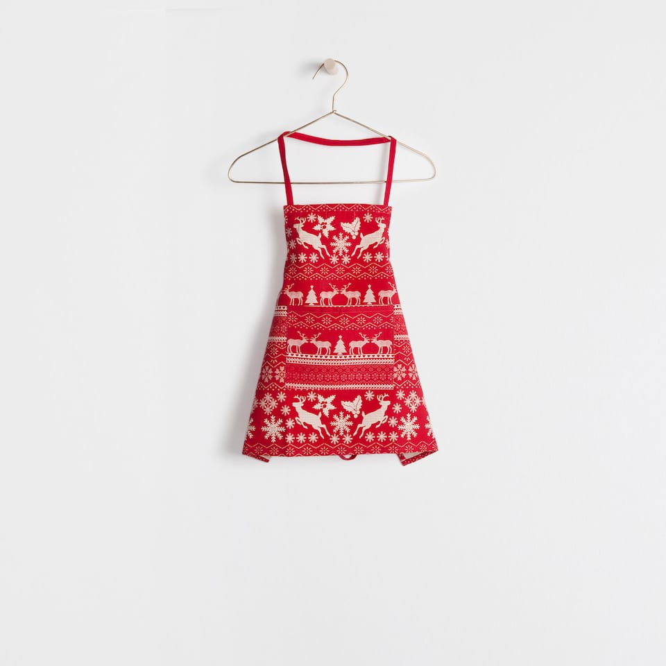 Red reindeer design apron