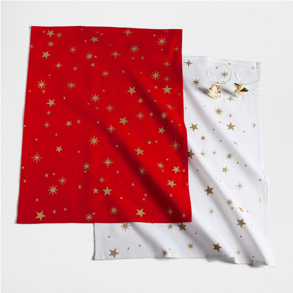 Golden stars printed tea towel (set of 2)