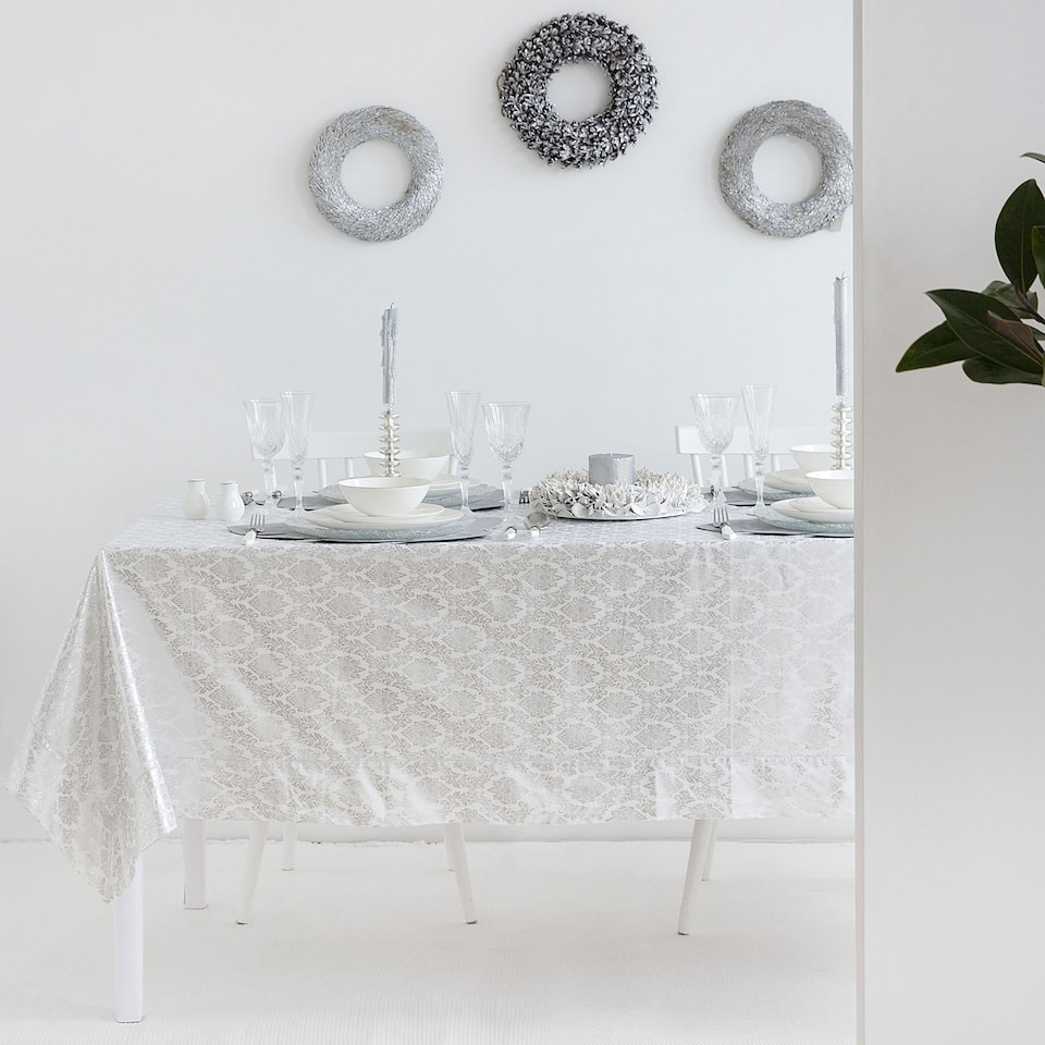 Silver printed cotton and linen tablecloth