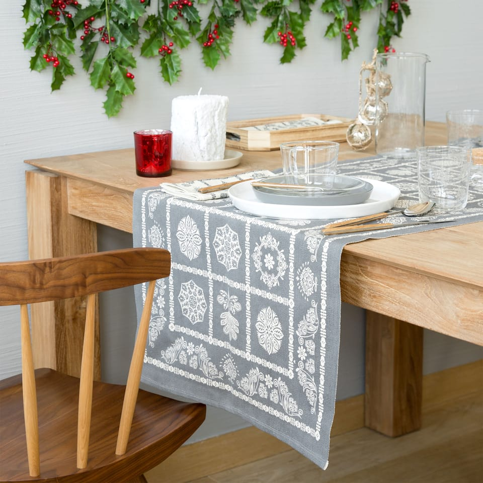 Grey cotton printed table runner