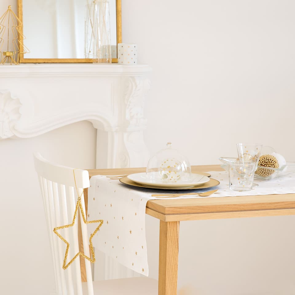 Jacquard linen and cotton mini stars table runner