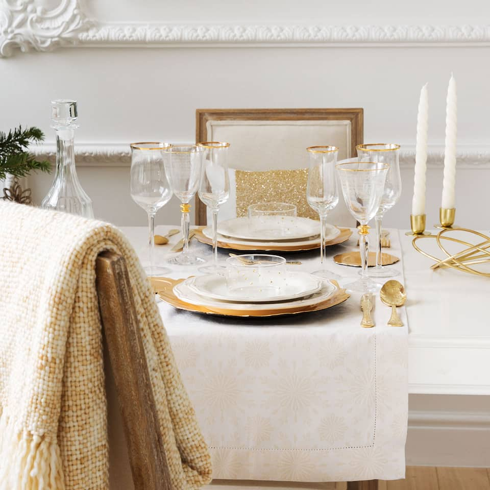 Golden jacquard table runner