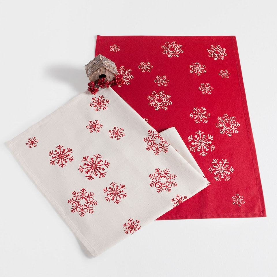 Snowflake print tea towel (set of 2)