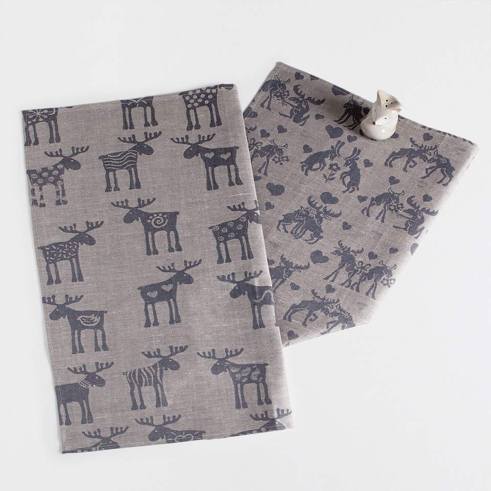 Printed linen and cotton tea towel (set of 2)