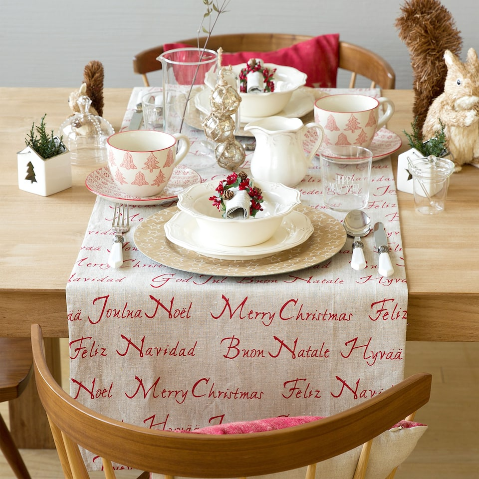 Happy holidays cotton and linen table runner