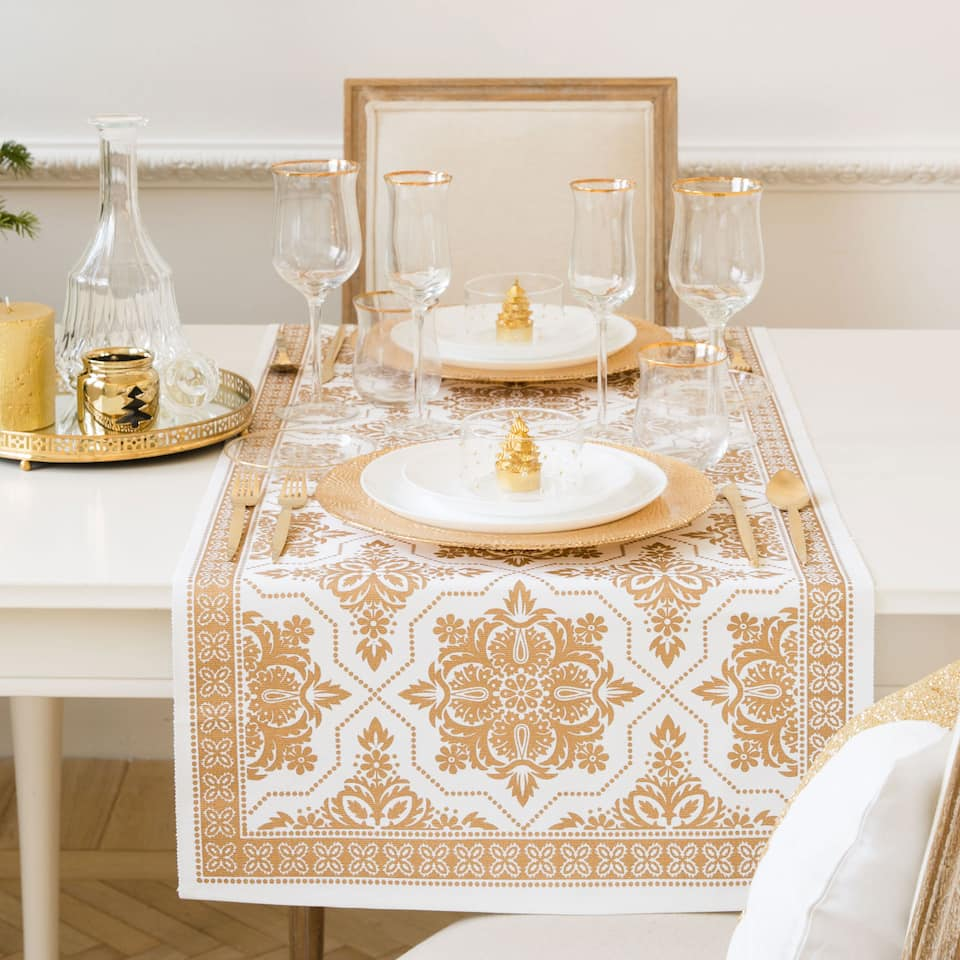 Golden print table runner
