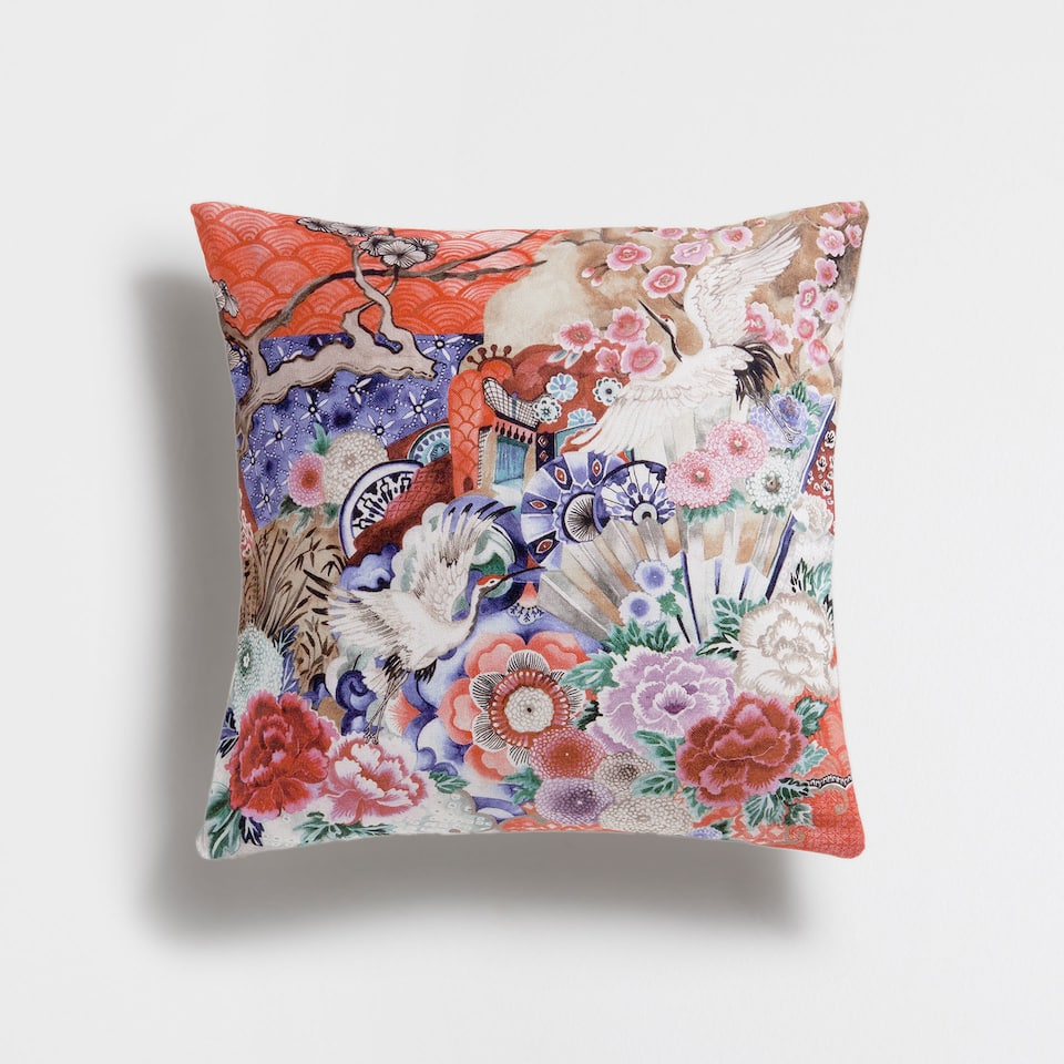 FLORAL PRINT COTTON CUSHION COVER