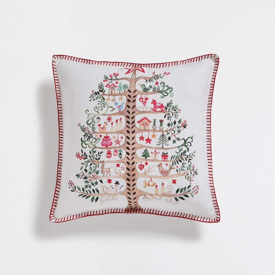 Christmas tree linen cushion cover