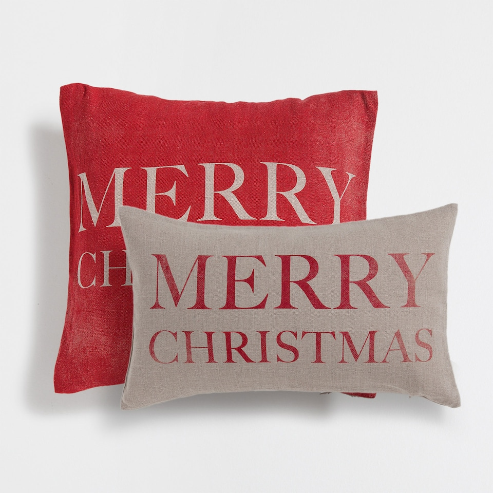 Merry Christmas linen cushion cover