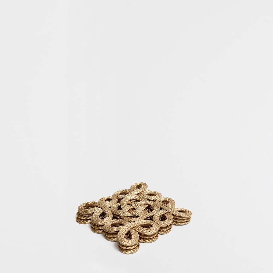 Golden Fabric Coasters (Set Of 4)