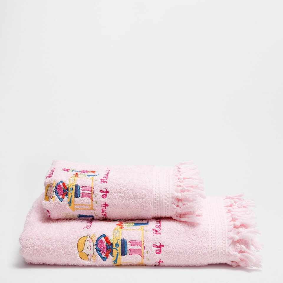 Embroidered pink cotton towel