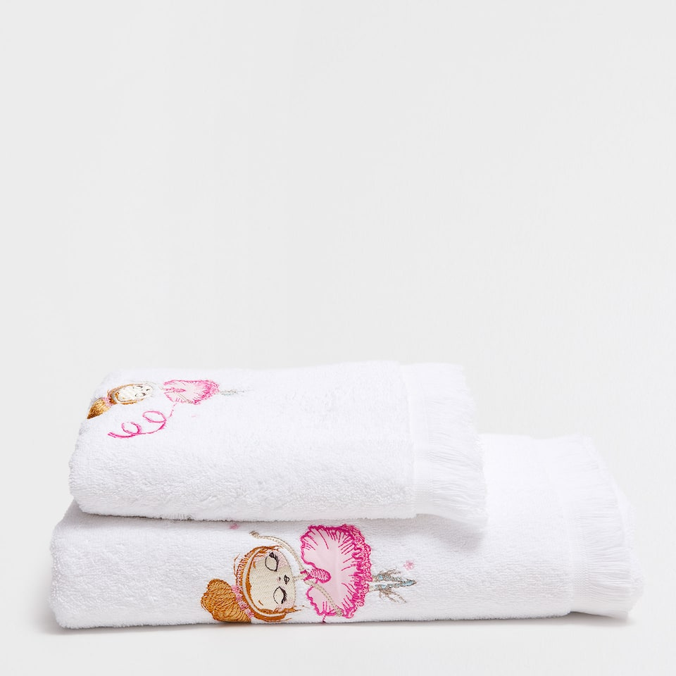 Ballerina embroidered cotton towel