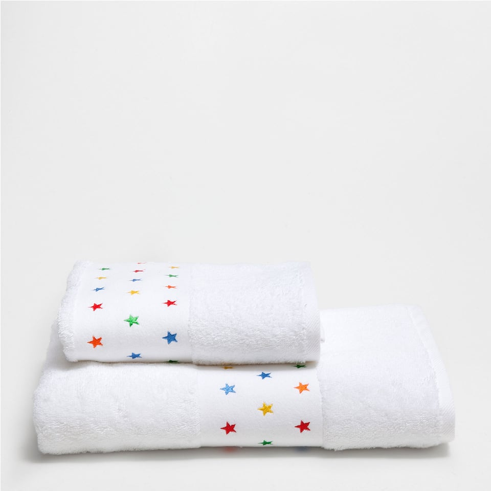 Multi-stars embroidered cotton towel