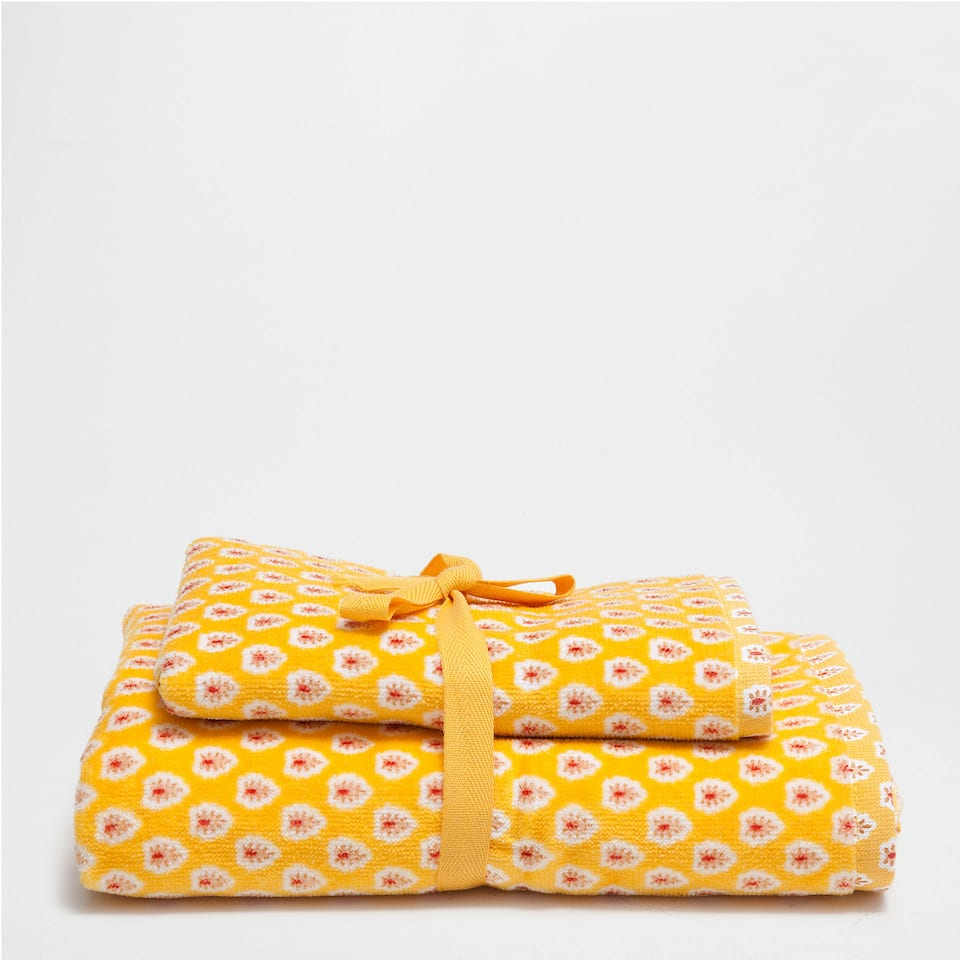 COTTON VELOUR TOWEL WITH PRINT (SET OF 2)