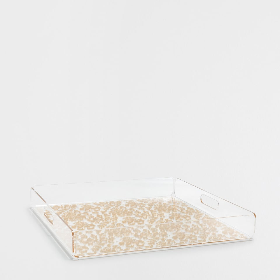 METHACRYLATE SQUARE TRAY WITH GOLDEN FLOWERS