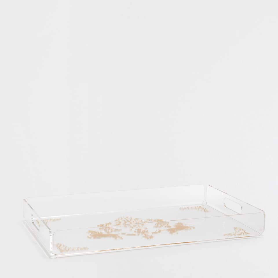 METHACRYLATE TRAY WITH A GOLDEN EQUESTRIAN PATTERN