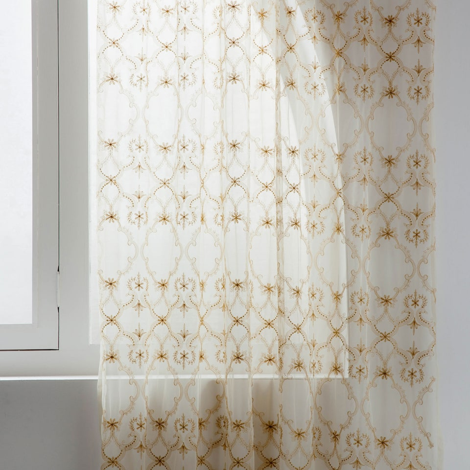 GOLDEN EMBROIDERED TULLE CURTAIN