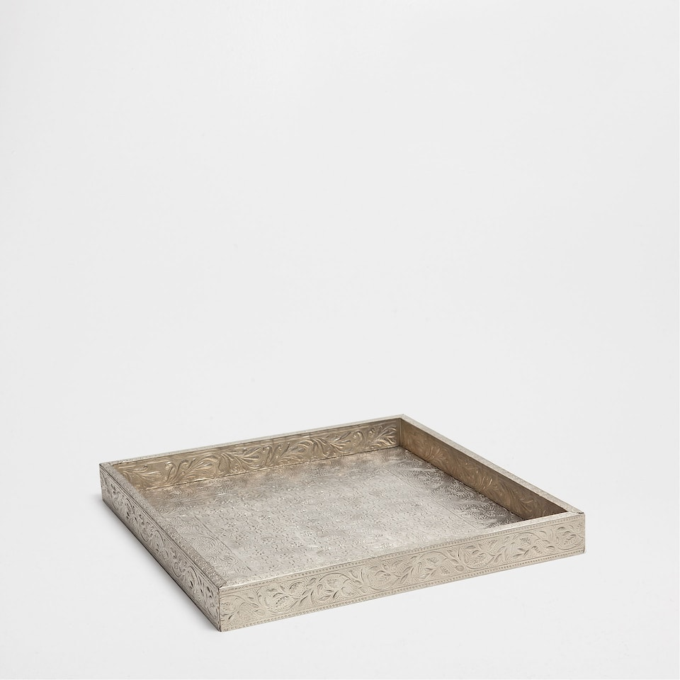 SILVER-PLATED PATTERNED TRAY