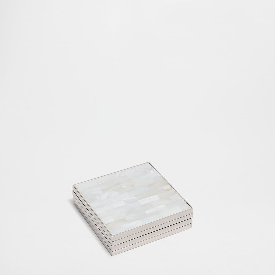 Mother-of-Pearl and Zinc Coaster (Set of 4)