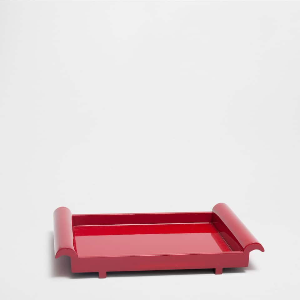 PLAIN RED RECTANGULAR TRAY