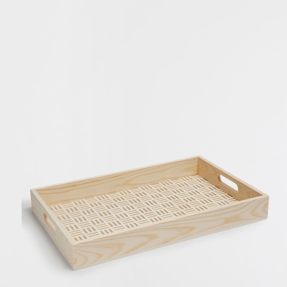 OPENWORK WOODEN TRAY WITH A GEOMETRIC PATTERN