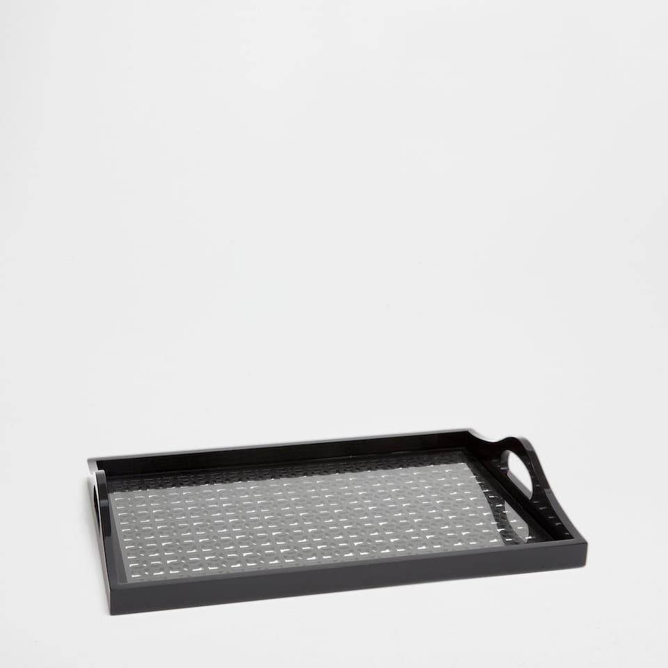PATTERNED BLACK RECTANGULAR TRAY