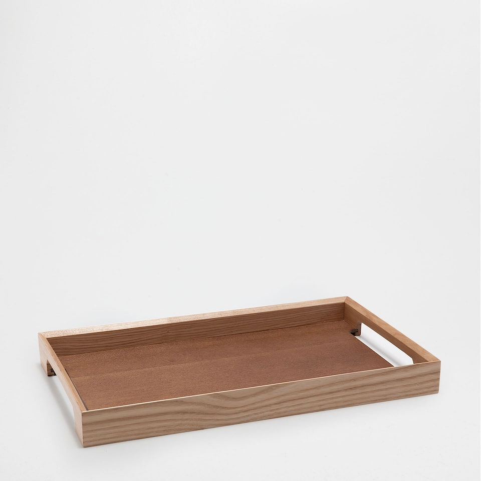PLAIN NATURAL-COLOURED rectangular TRAY