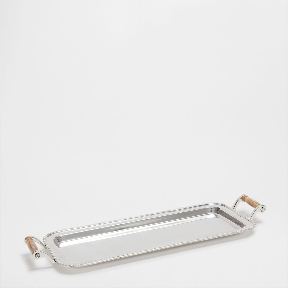 SILVER-PLATED TRAY WITH BONE HANDLES